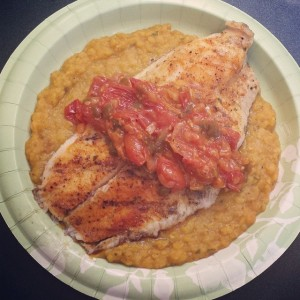 Grilled Catfish with Tomato Relish on Tarragon Lentils